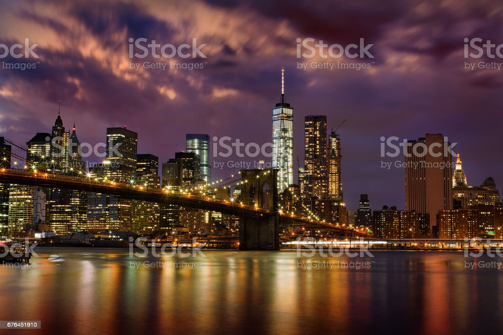 Brooklyn Bridge and Financial District, New York, at Night stock photo