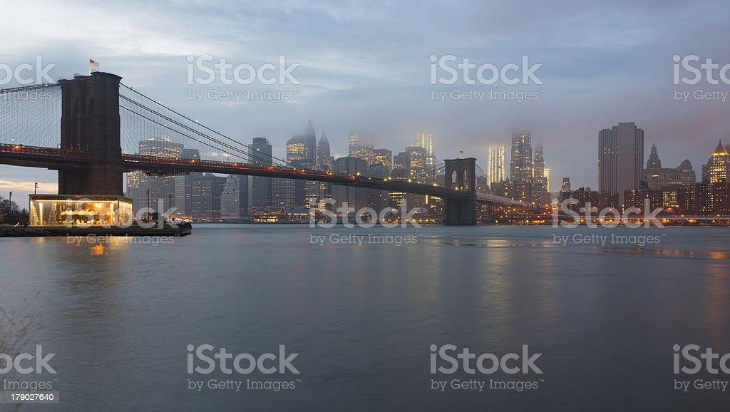 Brooklyn Bridge and Lower Manhattan at dusk, New York royalty-free stock photo