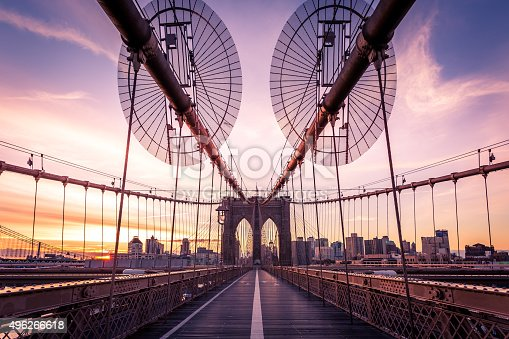 496266816 istock photo Brooklyn Bridge and Lower Manhattan at Sunrise, New York City 496266618