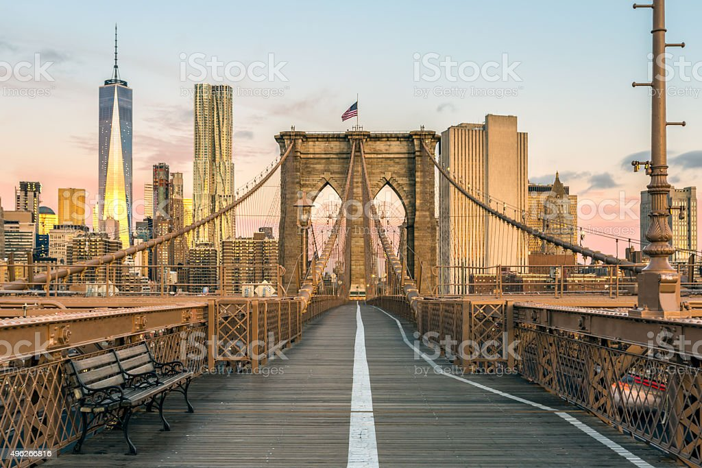 brooklyn bridge and lower manhattan at sunrise new york city stock photo more pictures of 2015. Black Bedroom Furniture Sets. Home Design Ideas