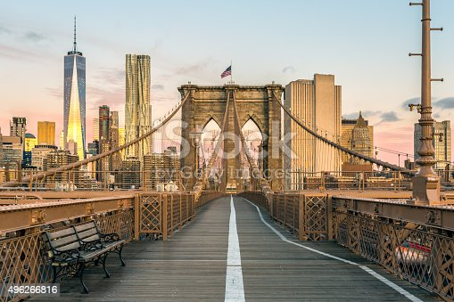 496266816 istock photo Brooklyn Bridge and Lower Manhattan at Sunrise, New York City 496266816