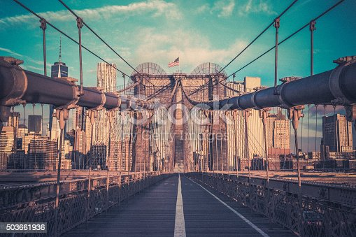 496266816 istock photo Brooklyn Bridge and Lower Manhattan at Sunrise, New York City 503661936