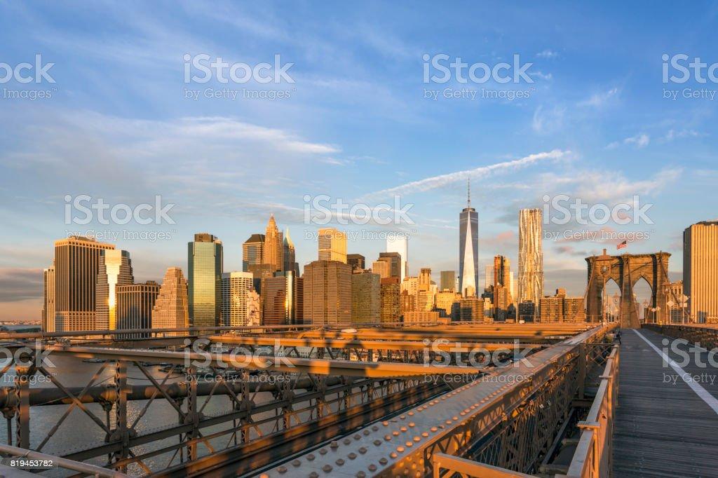 Brooklyn Bridge and Lower Manhattan at Sunrise, New York City stock photo