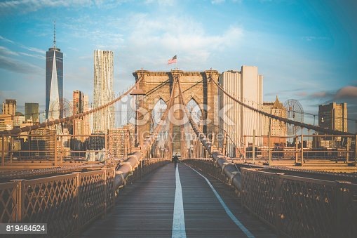 496266816 istock photo Brooklyn Bridge and Lower Manhattan at Sunrise, New York City 819464524