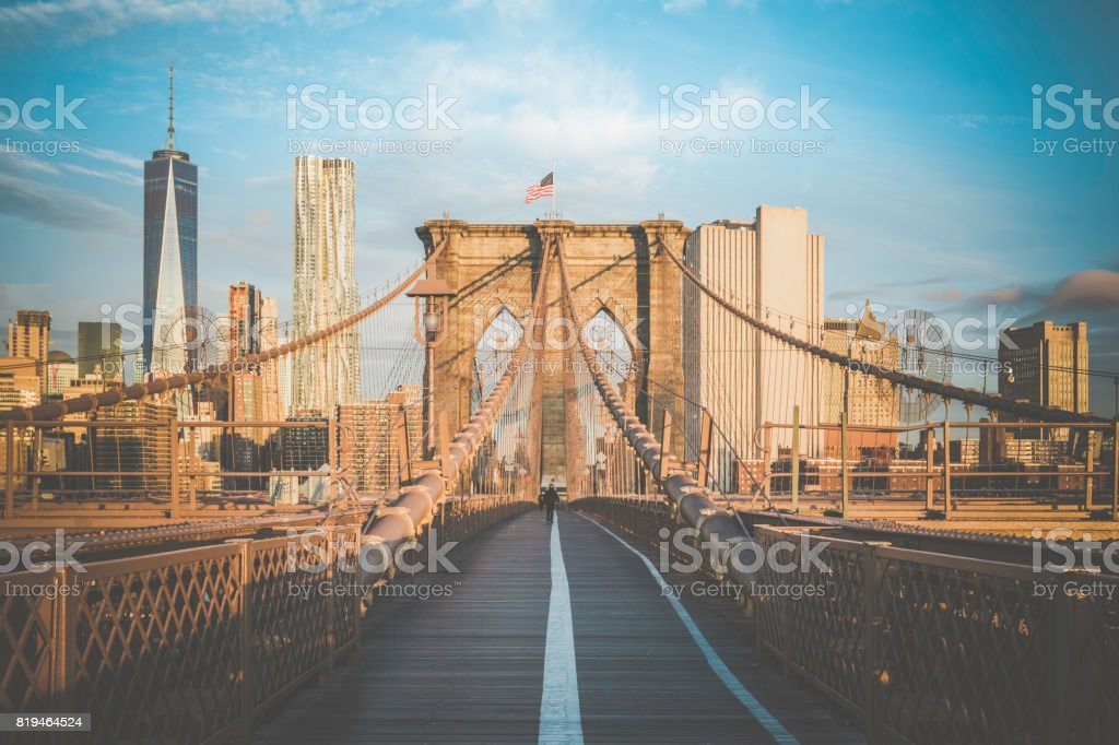 Brooklyn Bridge and Lower Manhattan at Sunrise, New York City stock photo