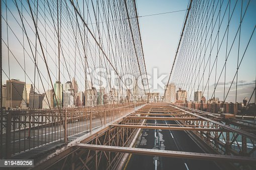 496266816 istock photo Brooklyn Bridge and Lower Manhattan at Sunrise, New York City 819489256