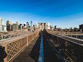 Brooklyn Bridge and Lower Manhattan at sunrise, New York City, USA