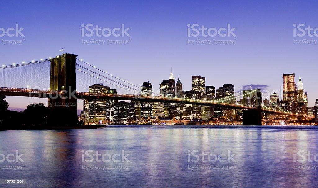 Brooklyn Bridge and Lower Manhattan City Skyline New York USA stock photo