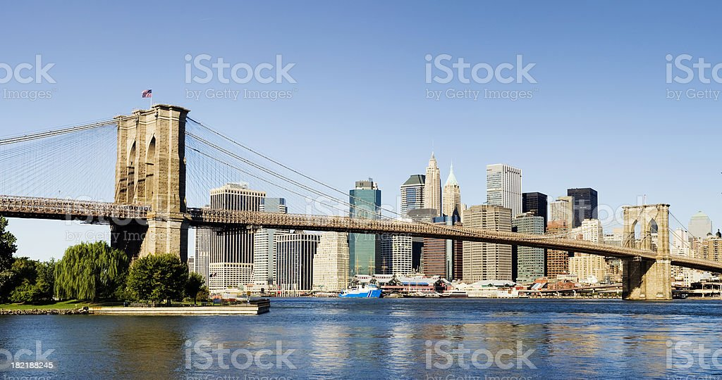 Brooklyn Bridge and Lower Manhattan City Skyline New York USA royalty-free stock photo