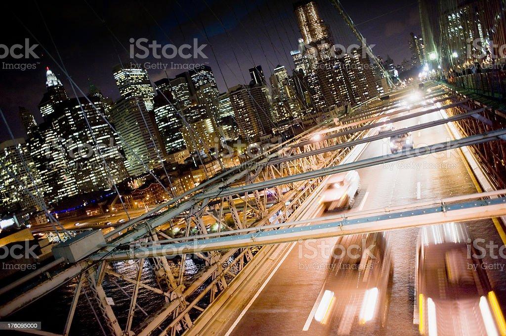 Brooklyn Bridge and Lower Manhattan New York City USA royalty-free stock photo