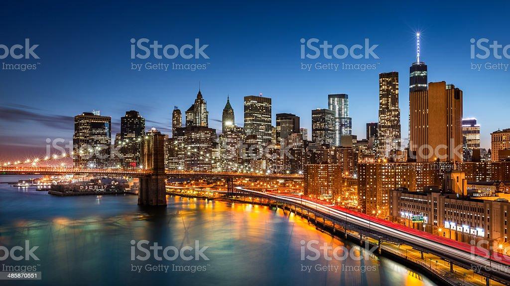 Brooklyn Bridge and Lower Manhattan stock photo