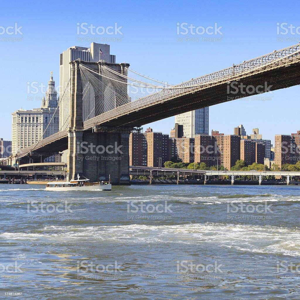 Brooklyn Bridge and Lower Manhattan Skyline. stock photo
