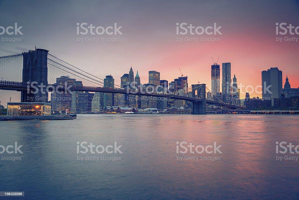 Brooklyn bridge and Manhattan at dusk royalty-free stock photo