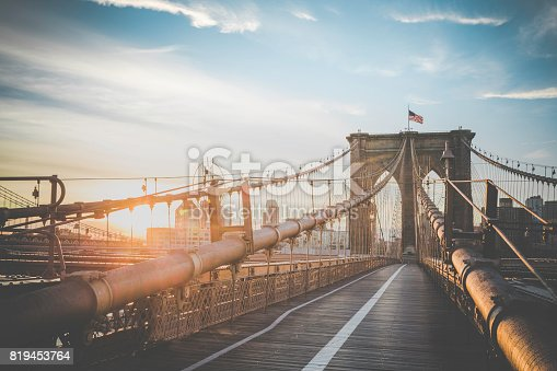 496266816 istock photo Brooklyn Bridge and Manhattan Bridge at Sunrise, New York City 819453764