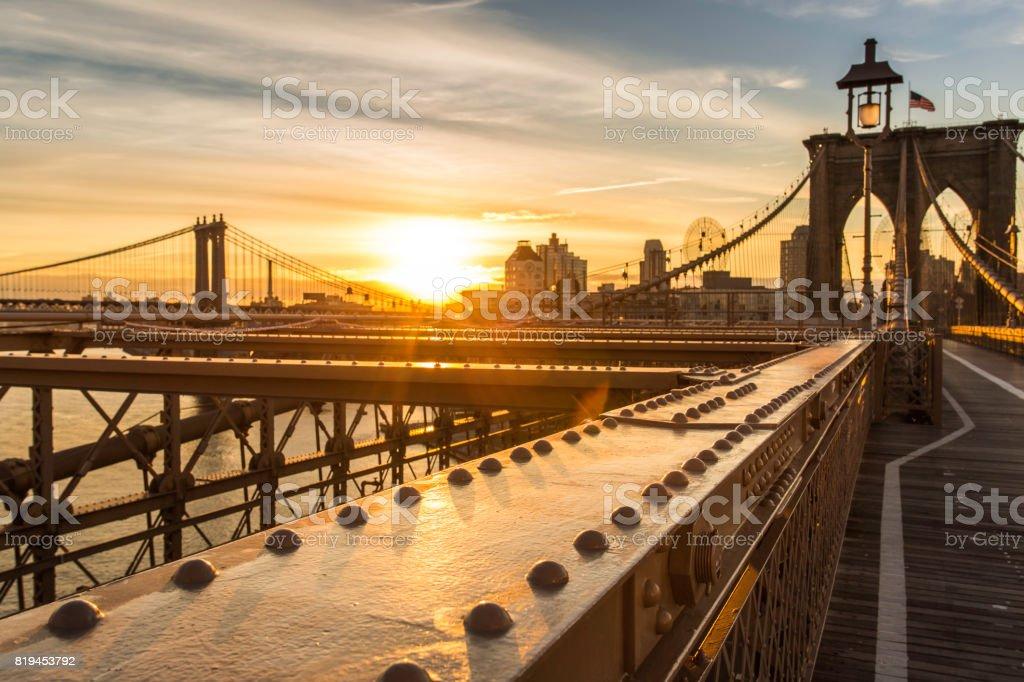 Brooklyn Bridge and Manhattan Bridge at Sunrise, New York City stock photo