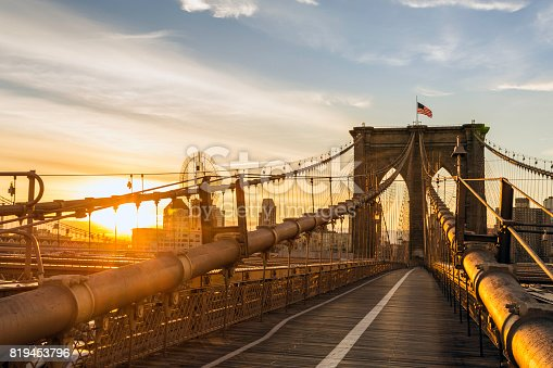 496266816 istock photo Brooklyn Bridge and Manhattan Bridge at Sunrise, New York City 819453796