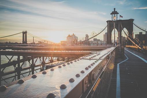 Brooklyn Bridge and Manhattan Bridge at Sunrise, New York City