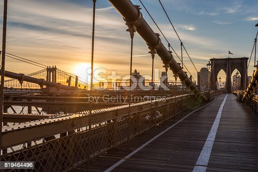 496266816 istock photo Brooklyn Bridge and Manhattan Bridge at Sunrise, New York City 819464496