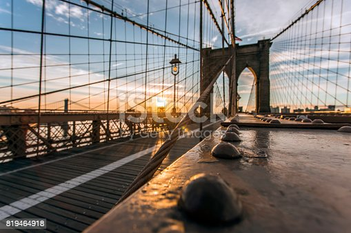 496266816 istock photo Brooklyn Bridge and Manhattan Bridge at Sunrise, New York City 819464918
