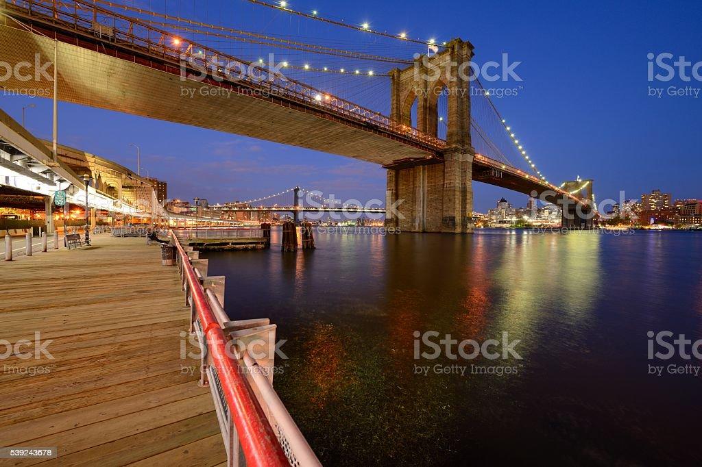 Brooklyn Bridge and Manhattan Bridge in New York royalty-free stock photo