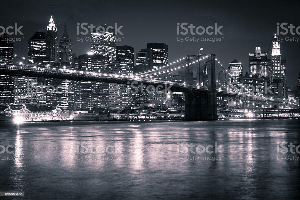 Brooklyn Bridge and Manhattan Evening Skyline royalty-free stock photo