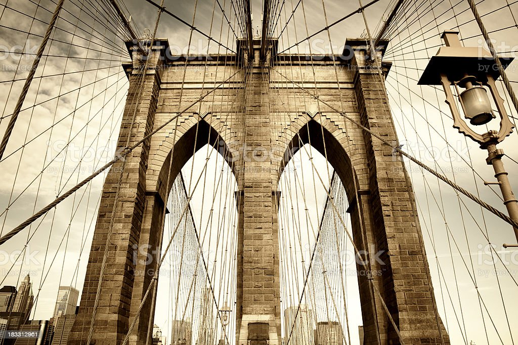 Brooklyn Bridge and Manhattan, NYC royalty-free stock photo
