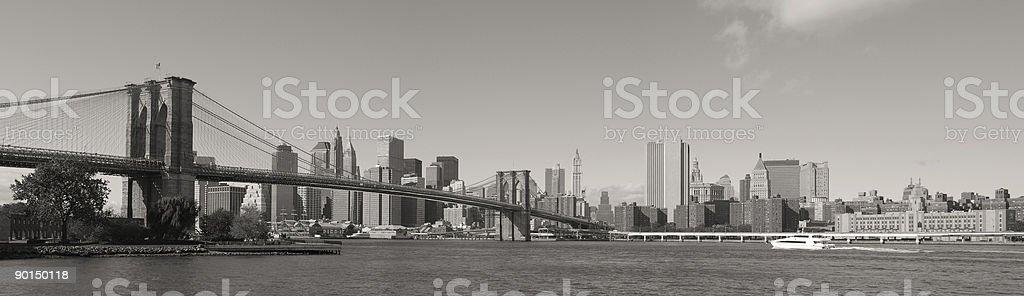 Brooklyn Bridge and Manhattan Panorama royalty-free stock photo