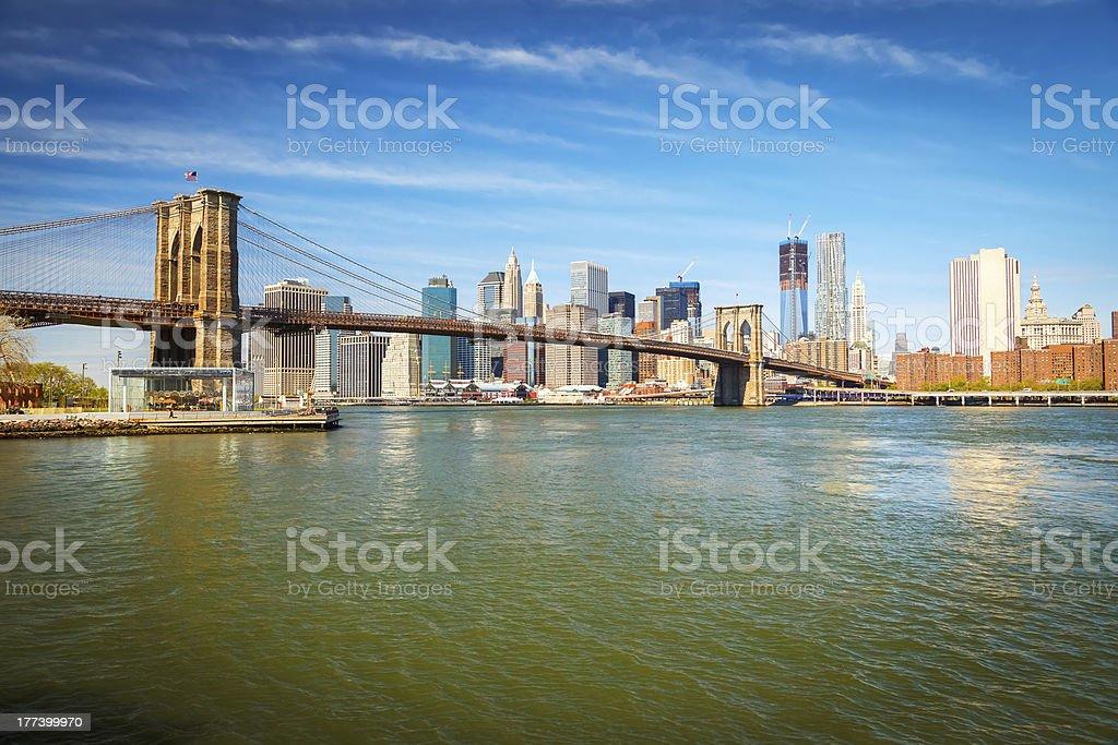 Brooklyn bridge and Manhattan royalty-free stock photo