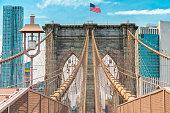 Brooklyn Bridge and Manhattan Skyline, Beautiful Cloudy Blue Sky Background. NYC