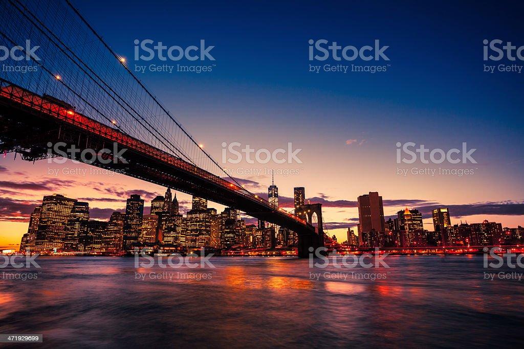 Brooklyn Bridge and Manhattan skyline at sunset stock photo