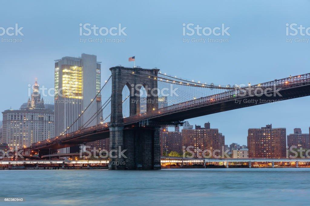 Brooklyn Bridge and Manhattan Skyline New York City Twilight Scene royalty-free stock photo