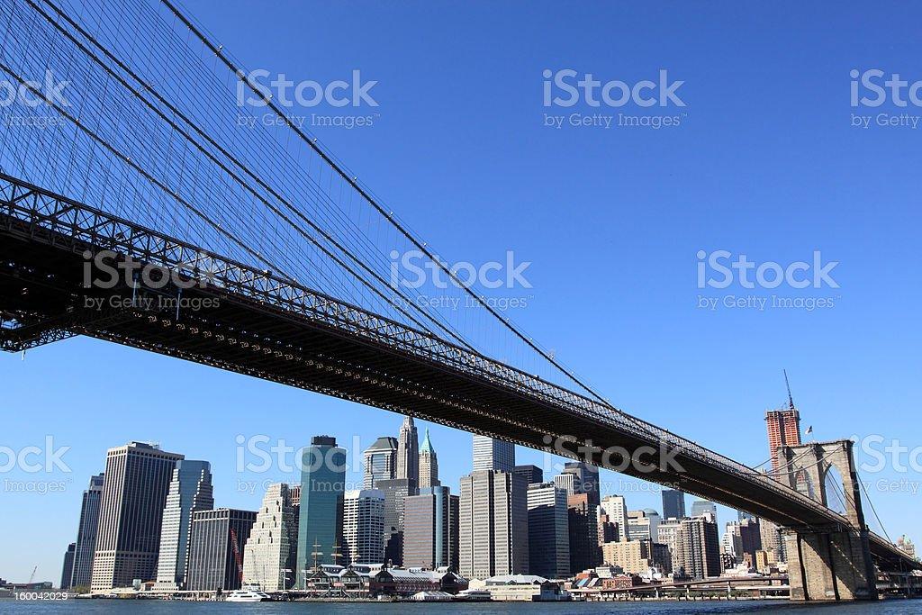 Brooklyn Bridge and Manhattan skyline royalty-free stock photo