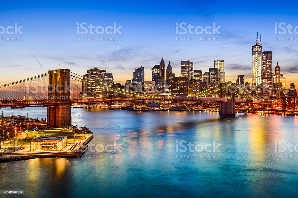 Brooklyn Bridge and Manhattan Skyline stock photo