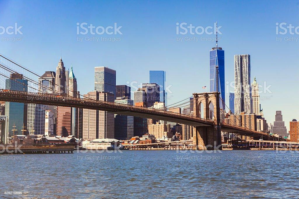 Brooklyn bridge and Manhattan view stock photo