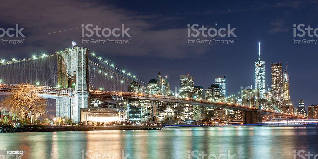 Brooklyn bridge and New York City Downtown in twilight stock photo