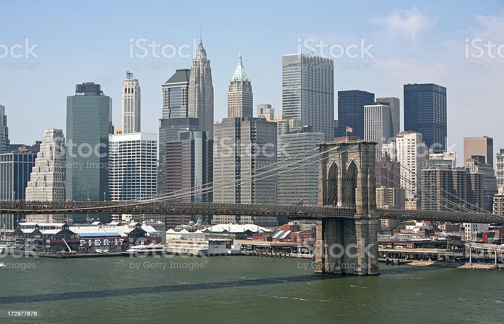 Brooklyn Bridge and New York Skyline stock photo