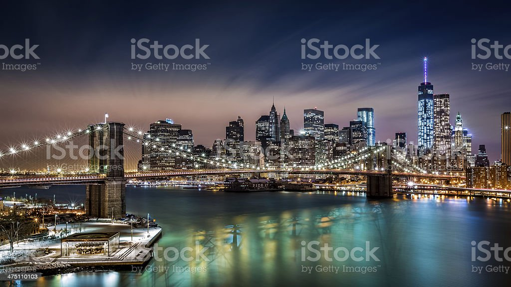 Brooklyn Bridge and the Financial District by night stock photo