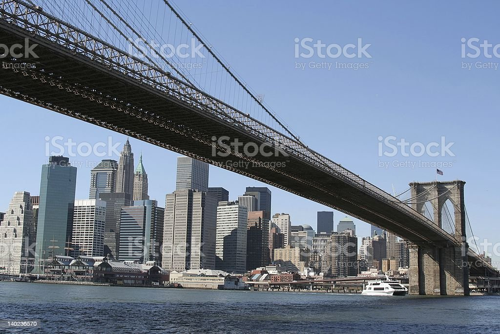 Brooklyn Bridge and view of adjacent lower Manhattan royalty-free stock photo