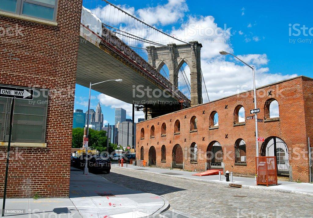 Brooklyn Bridge as seen from Water Street, DUMBO, NYC stock photo