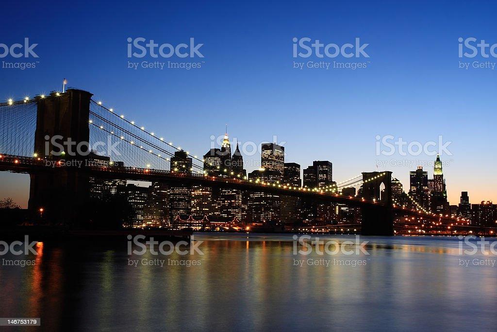 Brooklyn Bridge at dusk royalty-free stock photo