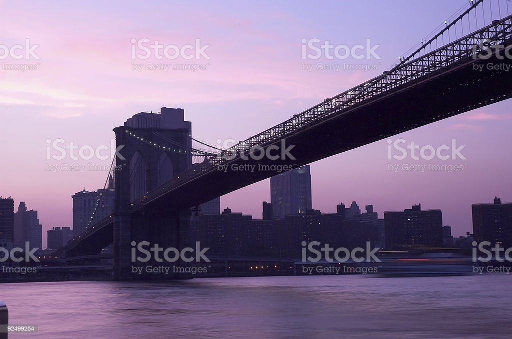 Brooklyn Bridge at dusk royalty-free stock photo
