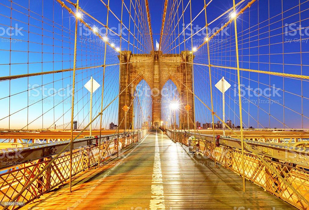 Brooklyn bridge at night, NYC. stock photo
