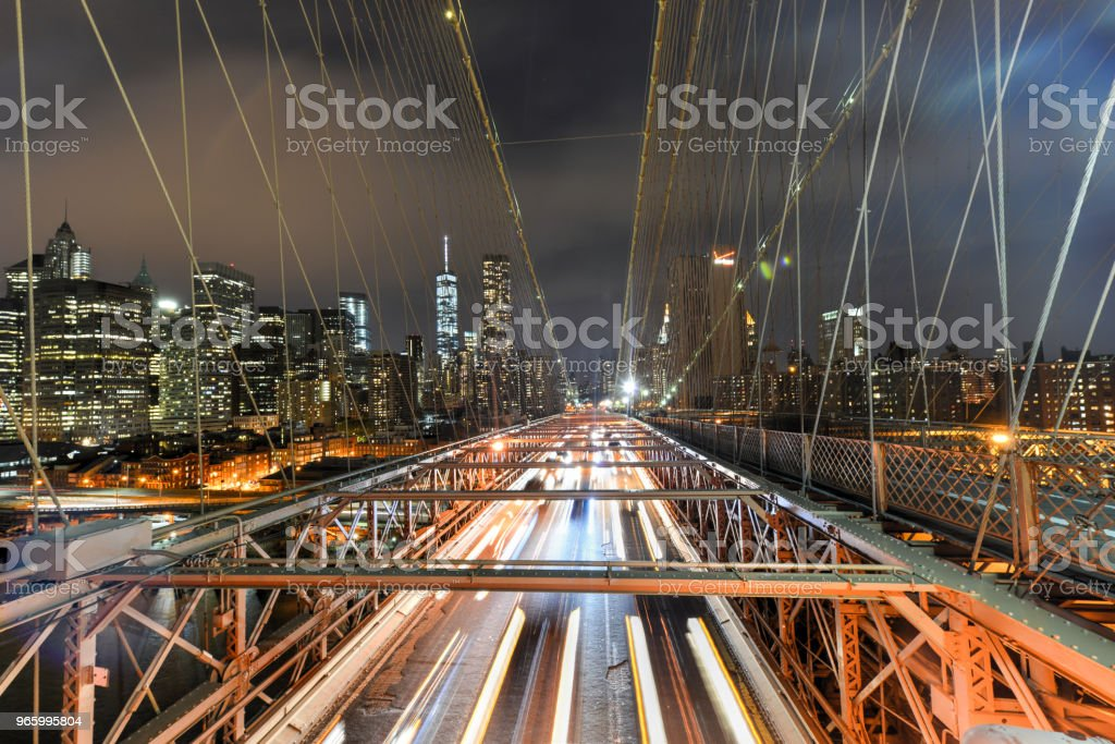 Brooklyn Bridge bij nacht - Royalty-free Architectuur Stockfoto