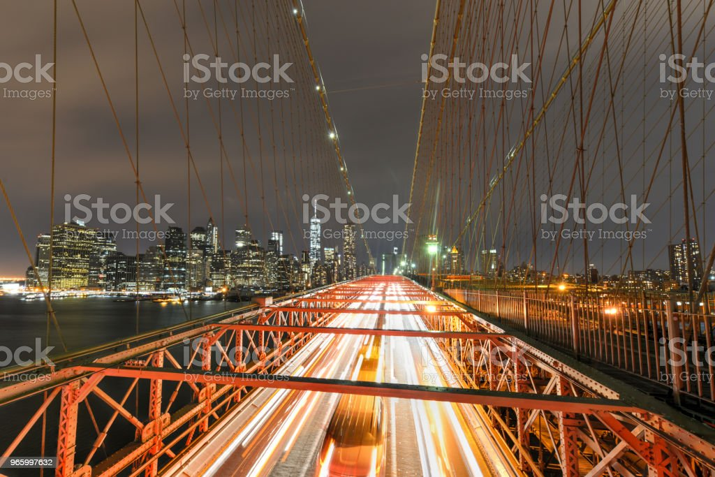 Brooklyn Bridge bij nacht - Royalty-free Architectuur Stockfoto