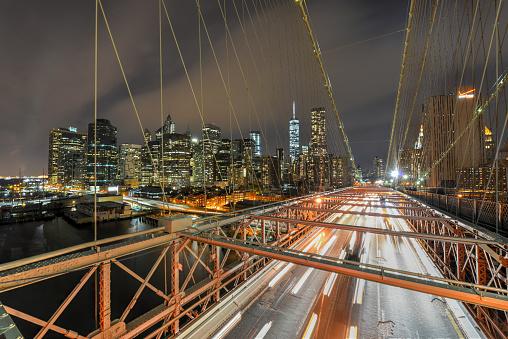 Brooklyn Bridge At Night Stock Photo - Download Image Now