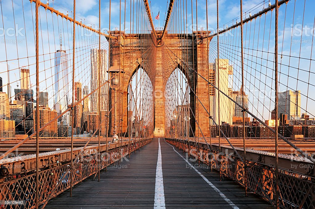 Brooklyn Bridge at sunrise, New York City , Manhattan stock photo