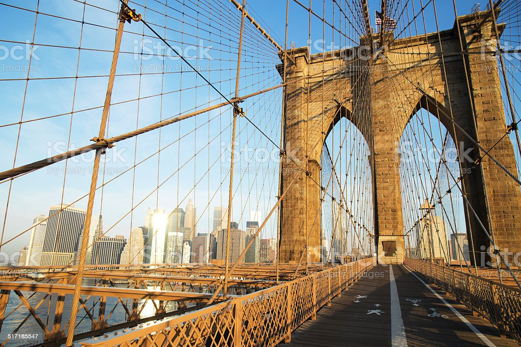 Brooklyn Bridge at sunrise, New York City stock photo