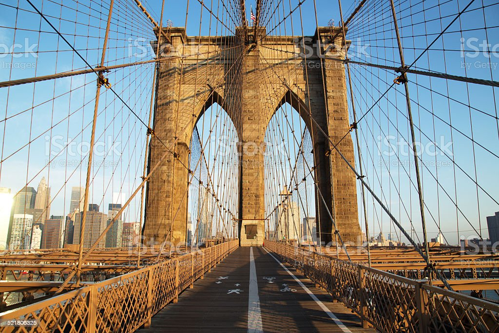 Brooklyn Bridge at sunrise, New York City stock photo