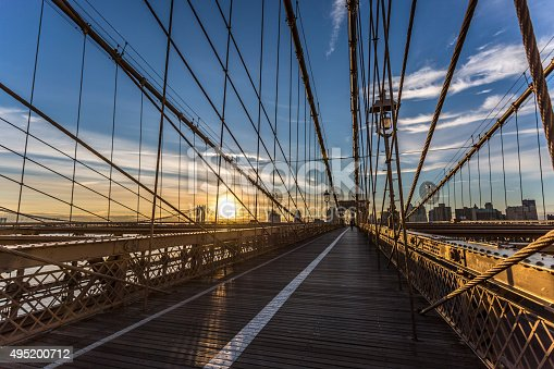 496266816 istock photo Brooklyn Bridge at Sunrise, New York City, USA 495200712