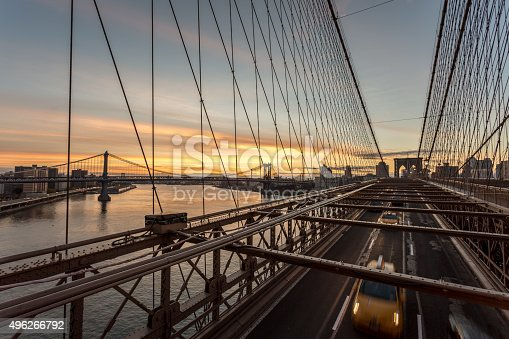 496266816 istock photo Brooklyn Bridge at Sunrise, New York City, USA 496266792